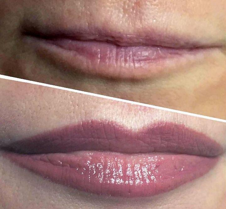 Обычные губы и с татуажем - почувствуй разницу