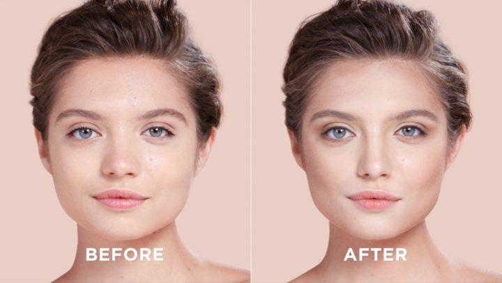Коррекция круглого лица до и после