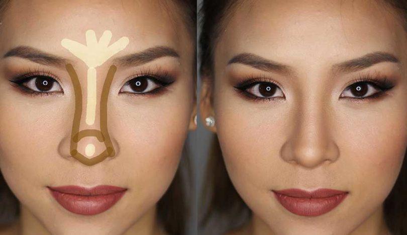 Как сделать нос макияжем